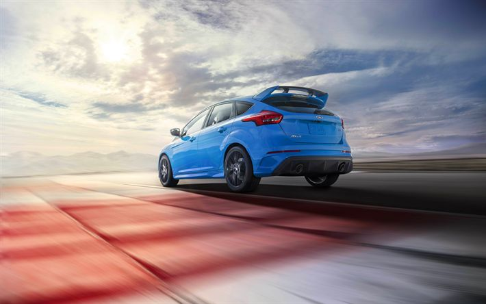 Download wallpapers Ford Focus RS, 4k, 2017 cars, hatchbacks, blue Focus RS, raceway, Ford