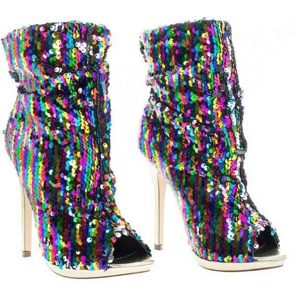 Multi Color Sequins Peep Toe High Heel Above Ankle Bootie ($49) ❤ liked on Polyvore featuring shoes, boots, ankle booties, high heel bootie, peep toe ankle booties, short boots, wide ankle boots and bootie boots