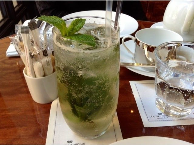 """""""Fresh mint covered in Chateldon bubbly water and ice cubes"""" via Paris Breakfasts"""