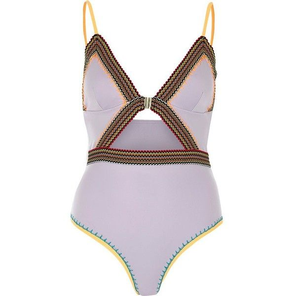 River Island Purple saddle stitch cut out swimsuit ($80) ❤ liked on Polyvore featuring swimwear, one-piece swimsuits, purple, swimsuits, swimwear / beachwear, women, swimsuit swimwear, cut-out swimsuits, swimming costumes and purple bathing suit