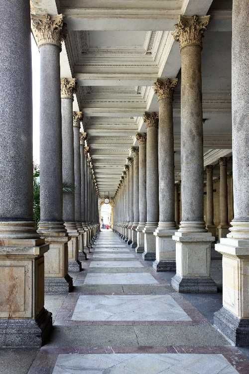 Colonnade with thermal water at Karlovy Vary, Czech Republic