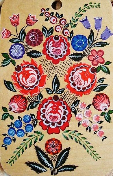 Traditional Gorodets painting from Russia. #folk #art