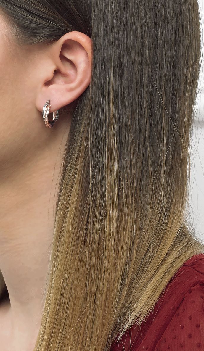Double hoops made of white and rose gold now on www.goldentiara.gr