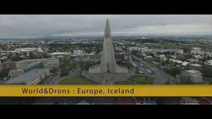 World & Drons EU Iceland : Reykjavik - Hallgrimskirkja Lutheran parish church Aerial
