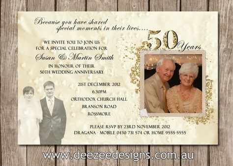 photo personalised 50th 60th 25th wedding anniversary invitations you print by deezeedesign on - 50th Wedding Invitations