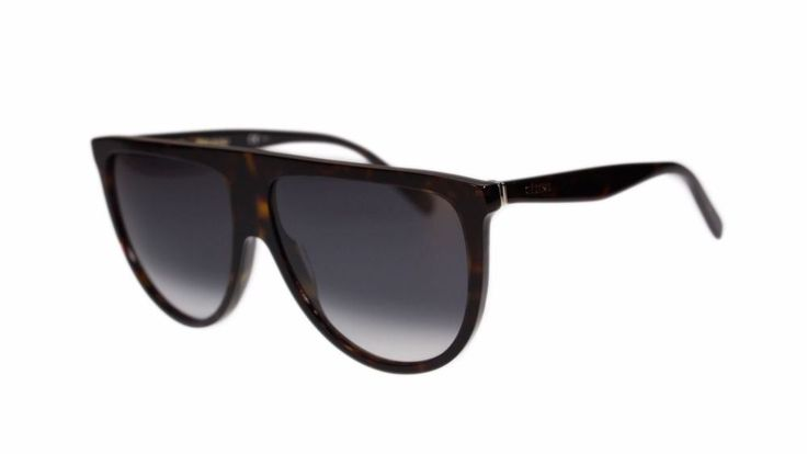 Celine Thin Shadow Women's Sunglasses CL41435 086 Dark Havana/Grey Gradient Lens #Celine #Rectangular