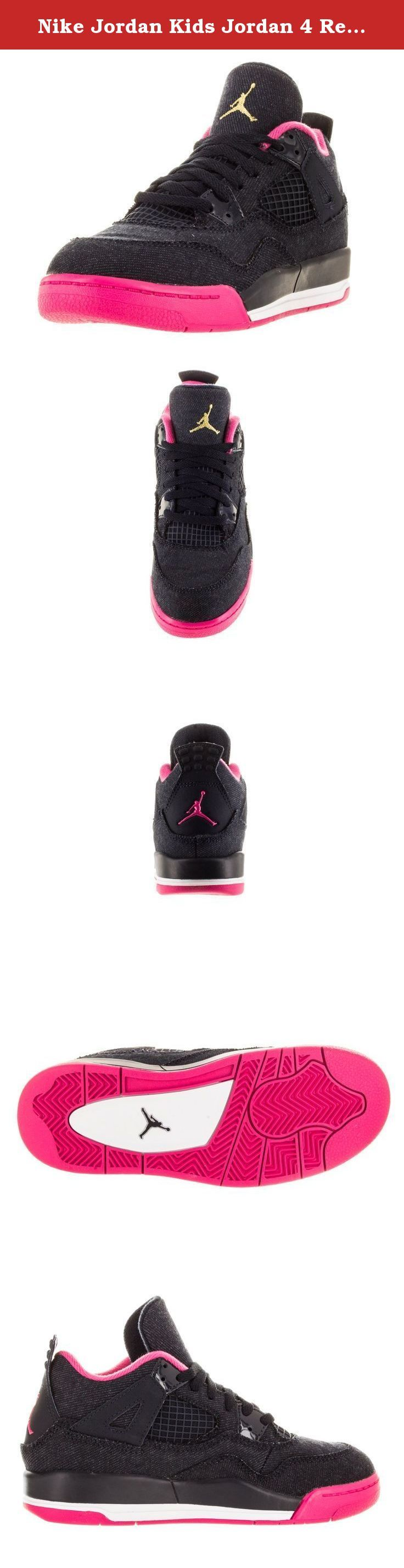 """Nike Jordan Kids Jordan 4 Retro Gp Drk Obsdn/Mtllc Gld/Vvd Pnk/Wh Basketball Shoe 2 Kids US. Built by Tinker and cemented into sneakerhead history by Spike Lee's, """"Do The Right Thing"""", the Air Jordan 4 is the fourth model crafted for the Jordan line."""