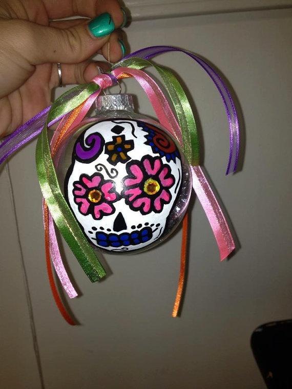Sugar Skull Hand painted Ornament | Dia de Los Muertos ...