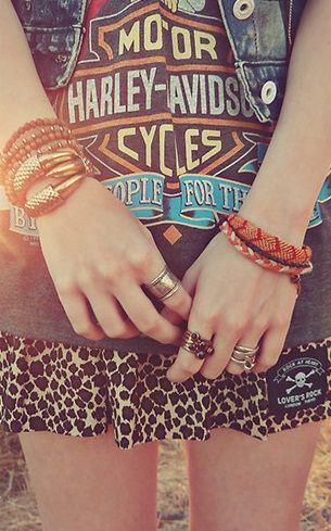 Harley Davidson Love <3   jean vest, classic tshirt, leopard skirt