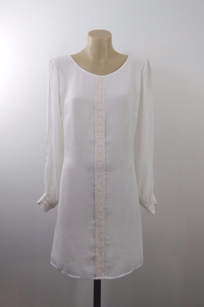 Size L 14 Ladies White Dress Cocktail Wedding Evening Boho Chic Feminine Design #LilD #Shift #Cocktail