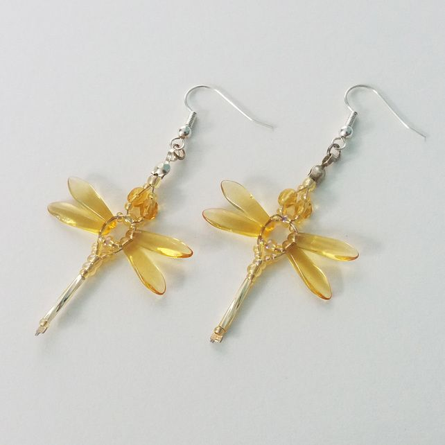 Beaded Dragonflies Earrings – Yellow or Gold £10.00