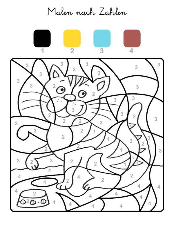 Die Felder Mit Der Zahl 1 Werden Schwarz Felder Mit Der Zahl 2 Gelb Die Mit Der Zahl 3 Blau Und Malen Nach Zahlen Malen Nach Zahlen Kinder Katze Zum Ausmalen