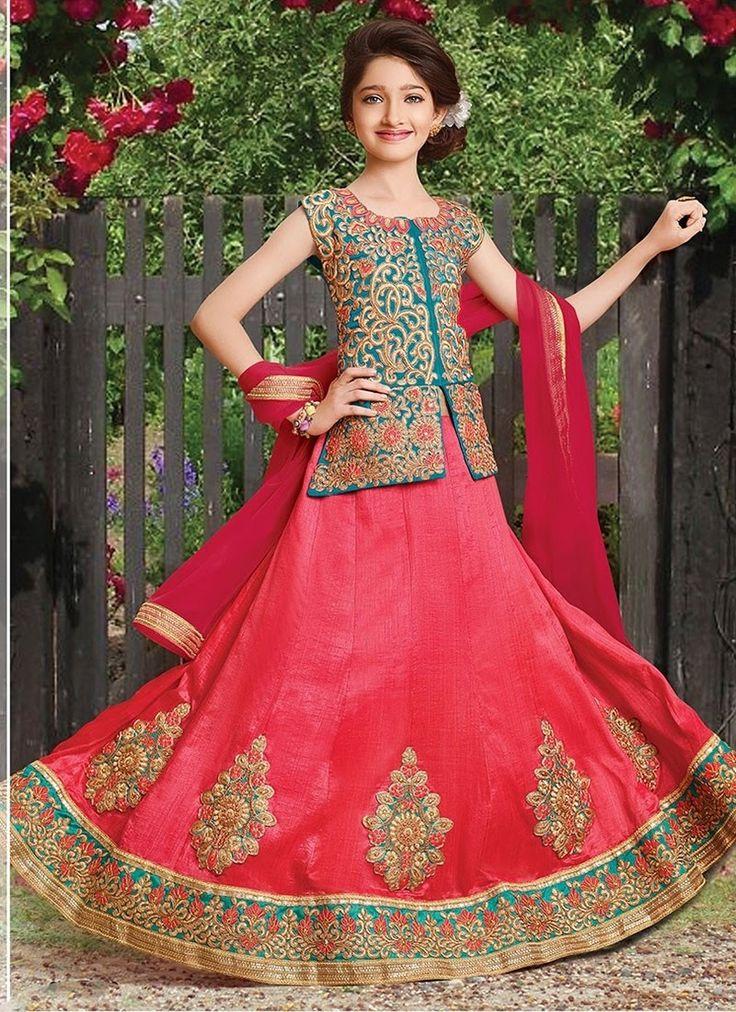 Red Silk #GirlsLehengaCholi With Embroidered,Lace Works. Order Girls Lehenga Choli Online @Chennaistore.com