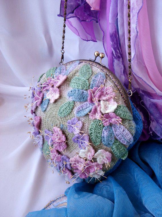Сумка на цепочке, Сумка на плечо, Сакура, Розовый, Бирюзовый, Весенняя мода, Маленькая сумка, Вечерняя сумочка, Кошелек, Пастельный цвет.