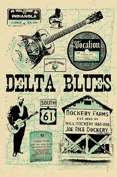 """Delta Blues Poster- signed by Grego - 12""""x18"""" - Mississippi Blues print - BIG. $10.00, via Etsy."""