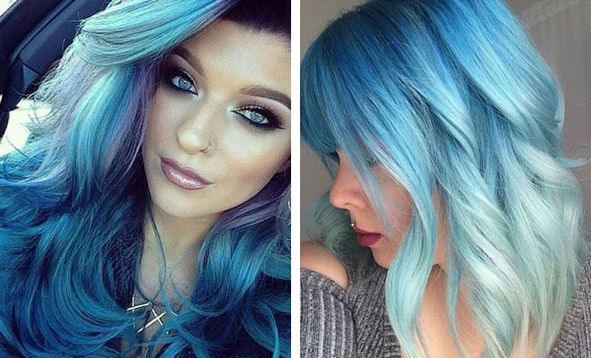11. Blonde to Dark BlueOmbre You can't go wrong with this blonde-to-blue ombré look. Blue makes curls look superchic and unique. 12. Dark Blue Hair + Bouncy Curls Make a bold statement with this all blue hair. Thelook is sure to turn some heads! 13. Purple to Blue Ombre Unleash your inner mermaid with this …