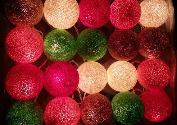 20 sweet pretty fancy mix color vivid cotton ball color lantern garland