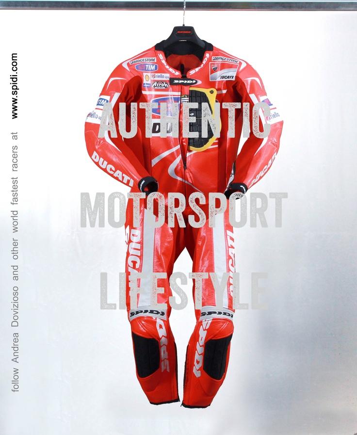 MotoGP Factory Ducati Rider Andrea Dovizioso & Spidi Track Wind Suit leathers. Authentic Motorsport Lifestyle. Follow MotoGP Riders at www.spidi.com