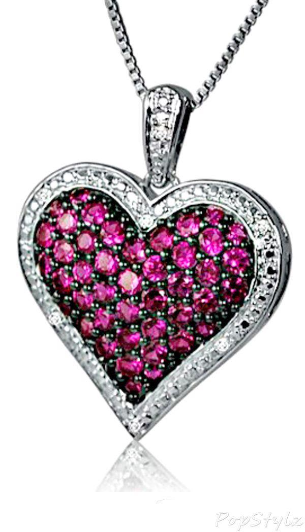 Ruby & Diamond Heart Necklace