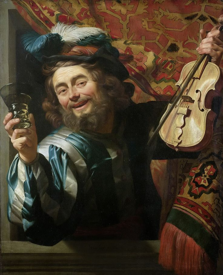 Gerard van Honthorst - A Cheerful Violin Player [1623] | Arash Noorazar Virtual Art Gallery  #17th #Classic #Gerard van #Honthorst #Painting