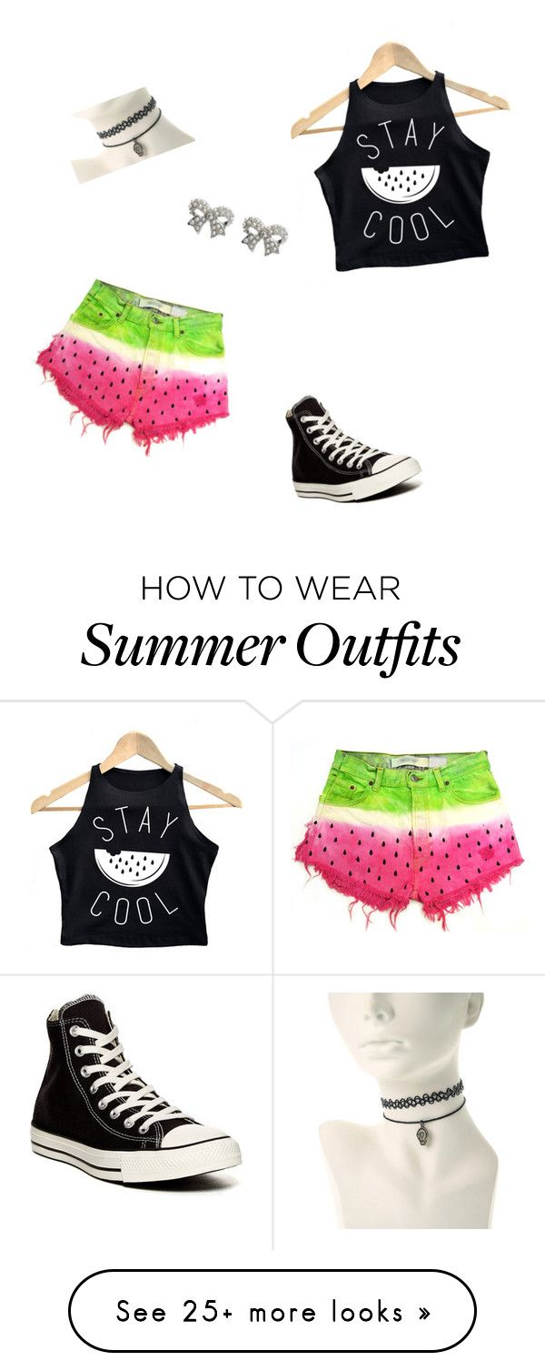 """Watermelon outfit"" by beautyjules on Polyvore featuring Converse and M&Co"
