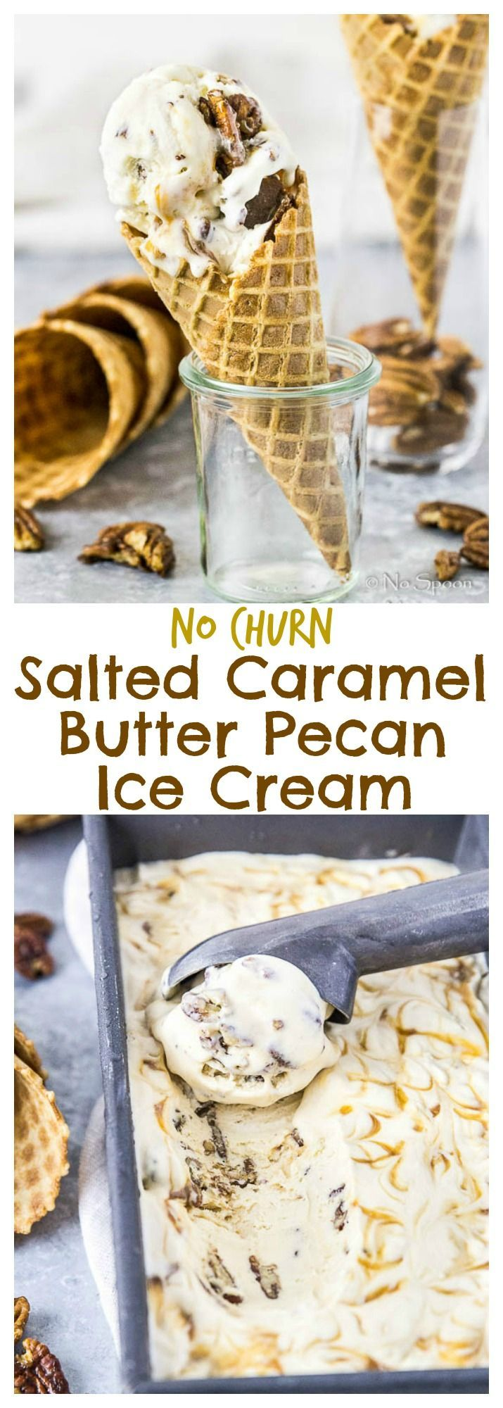 No Churn Salted Caramel Butter Pecan Ice Cream.  No Machine or Stove Top Needed to Make This Ice Cream!