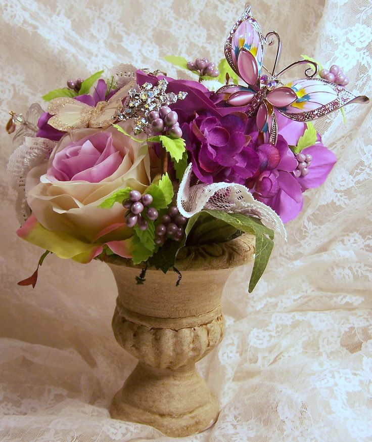 Shabby chic french country floral arrangement in urn french country pinterest floral - French country table centerpieces ...