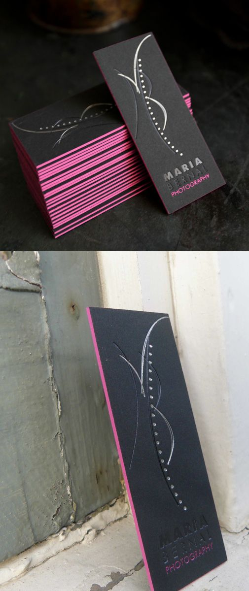 Sexy Business Card - letterpress black card with pink edging
