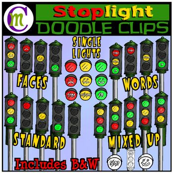 """Create fun games and resources to teach about stop and go with this streetlight clipart set. These would be great for listening games or classroom posters. I've included a variety of different versions of lights, so you have OPTIONS! Included is the standard lighting, a mixed up version with every combination that's possible, words that say """"stop"""" """"caution"""" and """"go"""", and faces with positive, neutral, and negative, lit separately an..."""