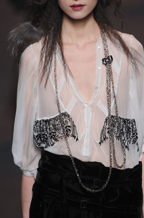 japanese fashion shop online Sheer white blouse embellished with delicate black crystal patterns  fashion
