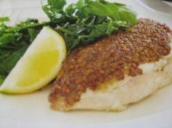 Recipe for Mustard Chicken and Greens.