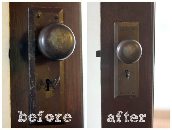 Restore Door Hardware, all you need is boiling water and a Magic Eraser |  Country - 10 Best Front Door Restoration Images On Pinterest Front Doors