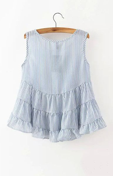 Women striped blouses summer ruffles sleeveless shirt camisas femininas O-Neck Roupas Femininas European casual tops WT183