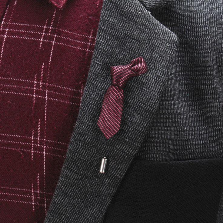 Mdiger 2017新しい人気男性ラペルピン剥奪ネクタイ形状ブローチ用スーツの装飾ファッション結婚式介添人ブローチピンワンピース