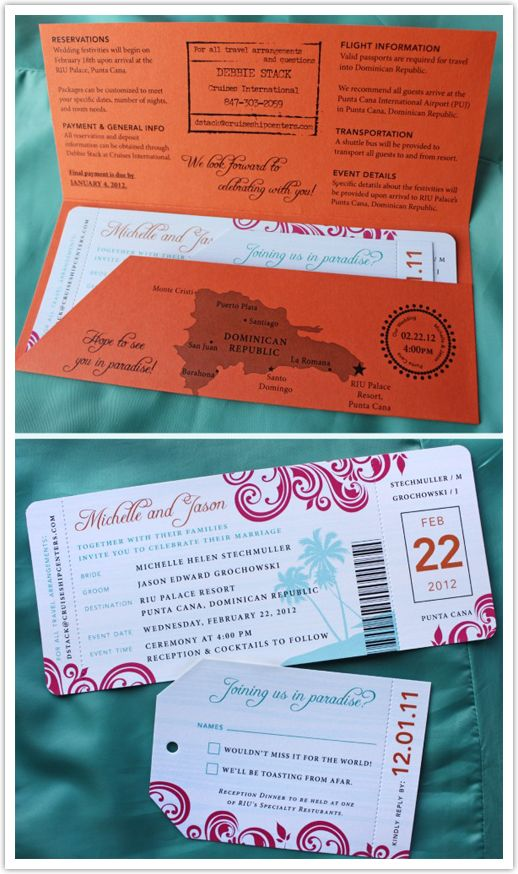 Just like the save the dates, this is also something that you can customize to ensure it stays with your destination theme. From passports, boarding passes, message in a bottle the possibilities are endless! I really like the idea of passports and boarding passes. It will really get your guests excited over the thought of going away. Just make sure they don't mix it up with their real passports and boarding pass at the airport!