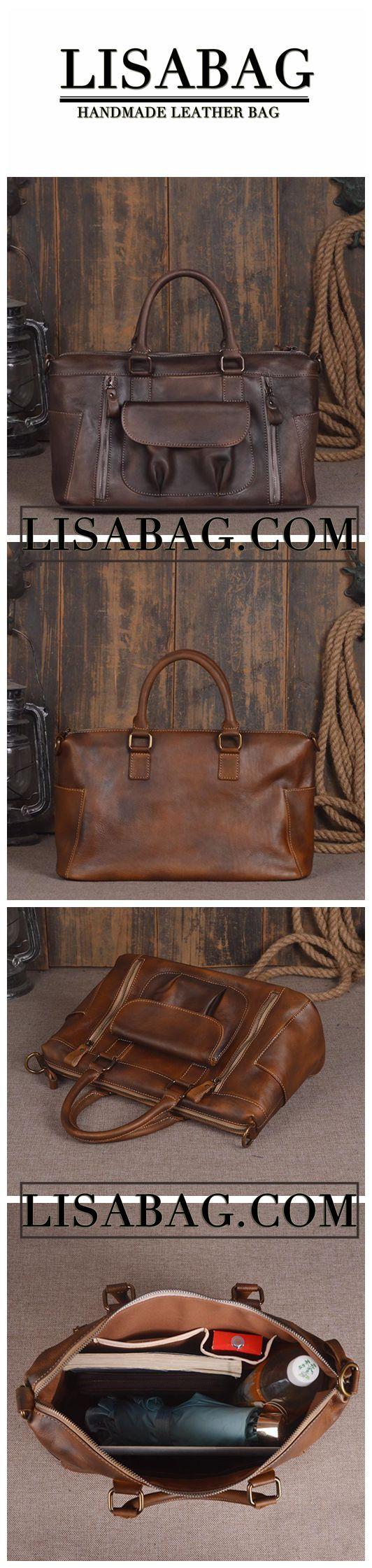 Handmade Leather Briefcase Messenger Bag Laptop Bag Men's Business Handbag in Navy 14136