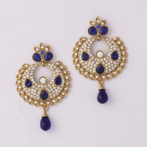 Blue Diamond Florish Indian Earring