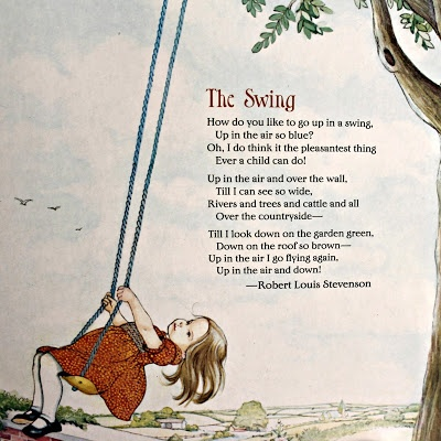 """""""The Swing"""", illustrated by Eloise Wilkin. Taken from Eloise Wilkin's Poems to Read to the Very Young. (Poems selected by Josette Frank.) Random House, 1982."""