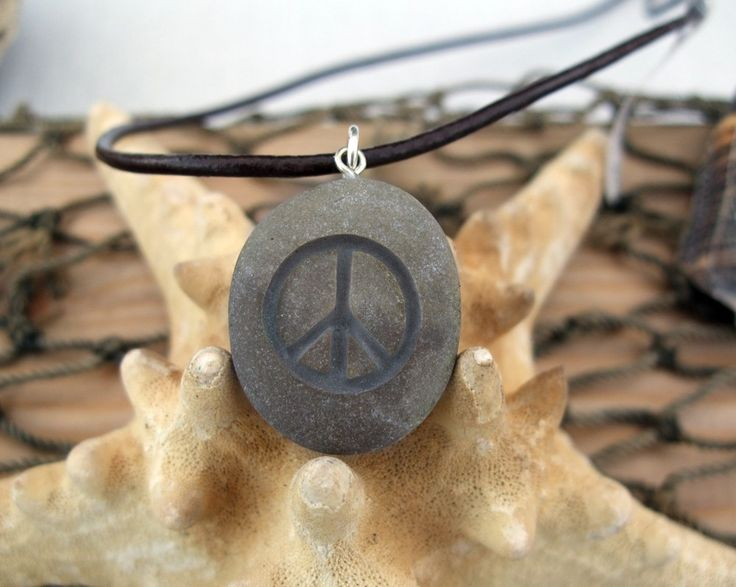 A sign of Peace - engraved Beach Stone Pendant - upcycled necklace