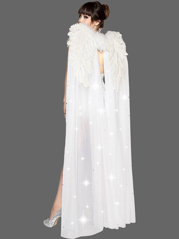 floor length white angel wings with rhinestones - Halloween Costumes Angel Wings