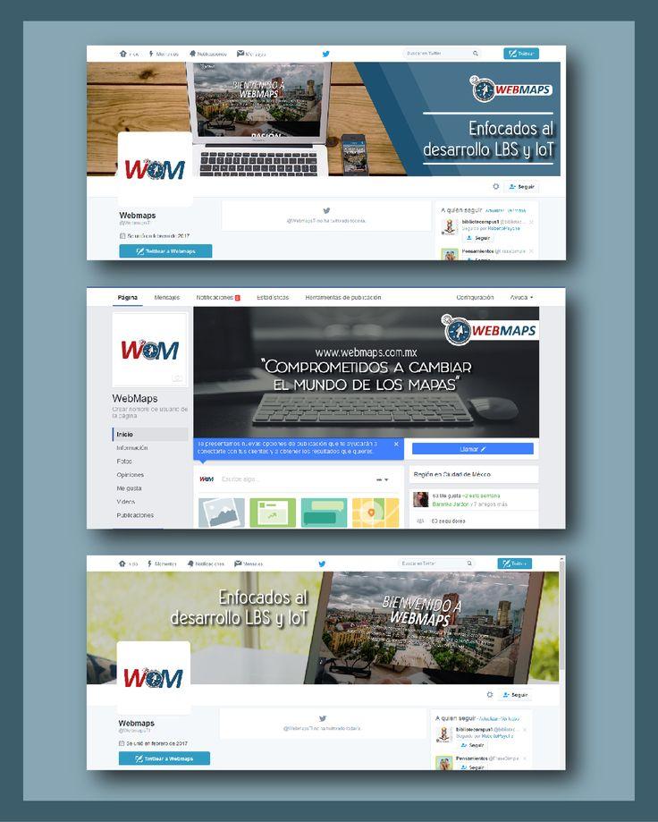 Diseño de Portadas para las distintas redes sociales de la empresa. WebMaps