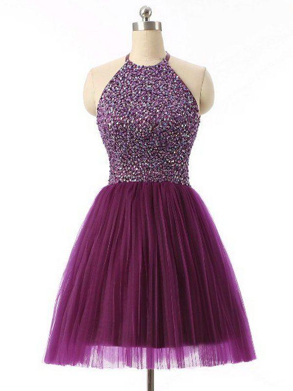 2016 Halter 8th Grade Graduation Dresses Beads Short Purple Semi Formal Dress Homecoming Dresses