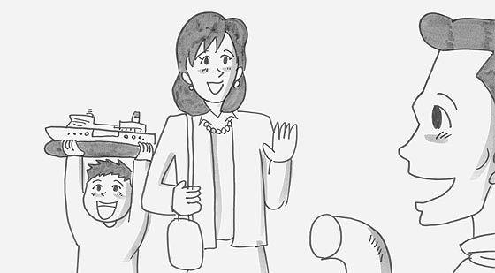 涙なしには見る事ができない、鉄拳によるパラパラ漫画『 約束 』 お父さんは豪華客船のコックさん。'ボク'はお父さんの乗る豪華客船と同じ形の模型を貰って大喜び!