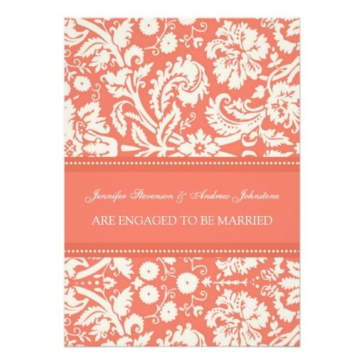 Coral Damask Engagement Announcement Cards