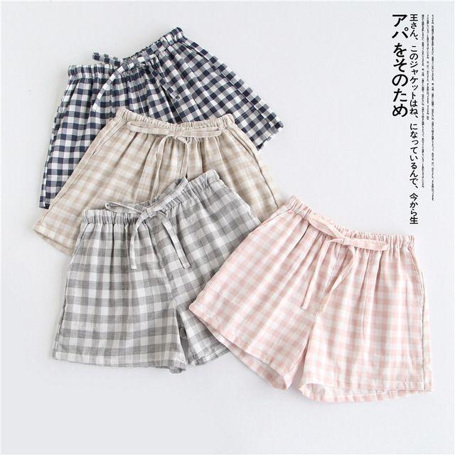 Cute Summer New 2019 Sleep Bottoms Cotton Pajama Shorts Women Drawstring Pajama Pants Loose 8 Color Pajamas Elastic Waist B87801