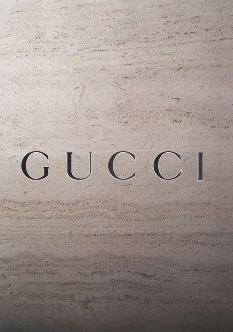 Gucci logo cut out in travertine stone. Beautiful.