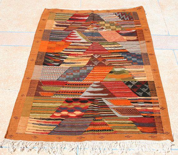 Brown Rug 3x5, Brown Area Rug Brown Throw Rug, Brown Kilim Rug Brown Orange Blue, Brown Tapestry Wall Hanging, Brown Kids Rug Childrens Rug