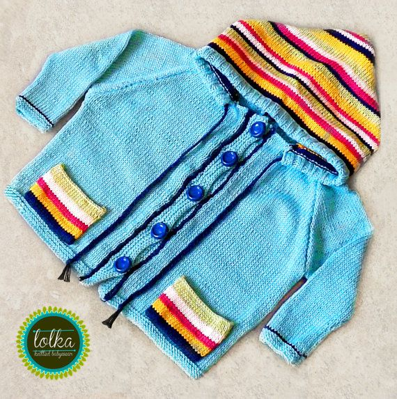 Turqoise baby jacket with multicolor striped hoodie. Handknit baby hoodie. Baby jacket. 100% cotton yarn.