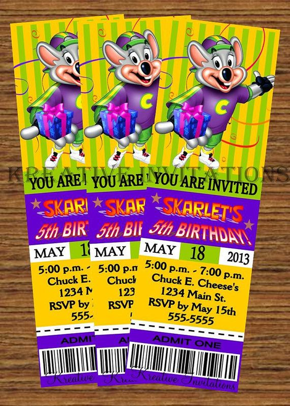 Custom Personalized Chuck E Cheeses Theme Birthday Party Ticket Invitation DIY Printable Digital File In 2019