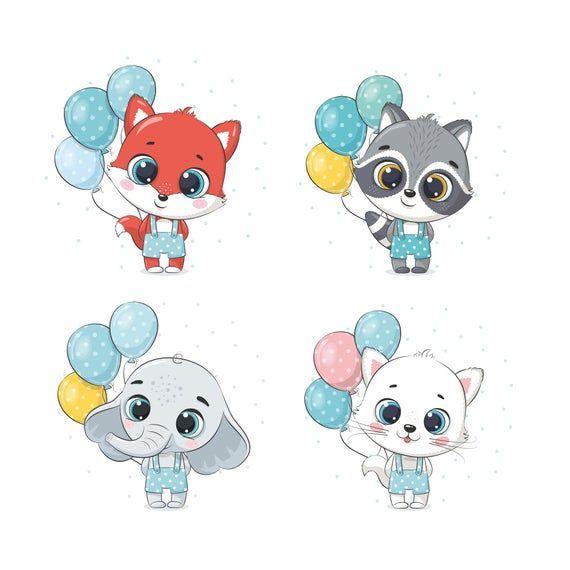 Baby Animals Clipart Birthday Clip Art Png Eps Jpeg Raccoon Clipart Elephant Clip Art Commersial Use Animal Clipart Cute Animal Clipart Clip Art
